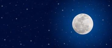 Estrellas brillantes de la Luna Llena y del centelleo en bandera azul marino del cielo nocturno fotografía de archivo