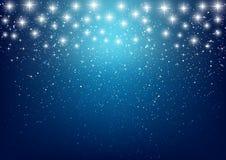 Estrellas brillantes en fondo azul Imagen de archivo libre de regalías