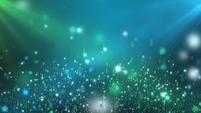 Estrellas brillantes flotantes verdes y fondo de colocación azul del movimiento metrajes