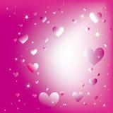 Estrellas chispeantes de los corazones en la explosión magenta de la luz stock de ilustración
