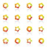 estrellas Cinco-acentuadas. Conjunto del modelo de la insignia del vector. ilustración del vector