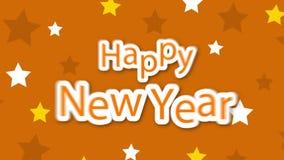 Estrellas de la Feliz Año Nuevo en amarillo ilustración del vector