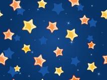 Estrellas de la historieta en el cielo azul Imagenes de archivo