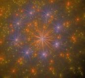 Estrellas de la naranja de los fuegos artificiales en el cielo negro Foto de archivo libre de regalías