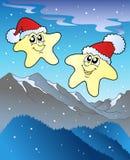 Estrellas de la Navidad con los sombreros ilustración del vector