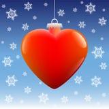 Estrellas de la nieve del corazón de la bola de la Navidad Imagen de archivo libre de regalías