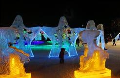 Estrellas de las esculturas de hielo Fotos de archivo
