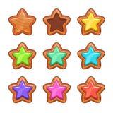 Estrellas de madera de la historieta fijadas stock de ilustración