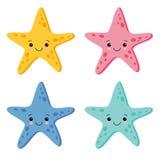 Estrellas de mar coloridas lindas fijadas en el fondo blanco Ilustración del vector ilustración del vector