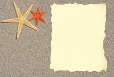 Estrellas de mar con el papel en blanco para una lista, un menú o un texto Fotografía de archivo libre de regalías