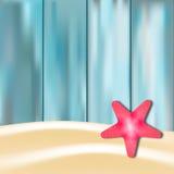 Estrellas de mar en el fondo de madera azul stock de ilustración
