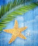 Estrellas de mar en fondo de madera foto de archivo