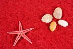 Estrellas de mar y piedras en la arena roja Fotos de archivo