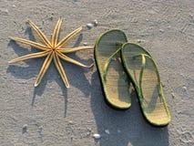 Estrellas de mar y sandalias Imágenes de archivo libres de regalías