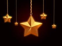 estrellas de oro 3d con los encadenamientos stock de ilustración
