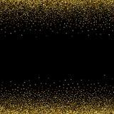 Estrellas de oro, confeti que brilla El pequeño chispear dispersado, bolas brillantes, círculos Descenso estelar al azar en un fo ilustración del vector
