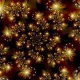 Estrellas de oro del fractal en fondo del extracto del espacio Fotografía de archivo