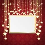 Estrellas de oro del marco de los ornamentos del rojo Imagen de archivo