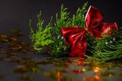 Estrellas de oro en decoraciones de la picea de una Navidad de la ramita foto de archivo libre de regalías
