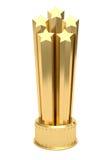 Estrellas de oro premiadas en el zócalo aislado en blanco Fotos de archivo libres de regalías