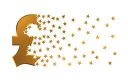 Estrellas de Sterling Sign Falling Apart To de la libra Fotografía de archivo libre de regalías