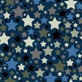 Estrellas decorativas modelo o fondo inconsútil, materia textil, textura o anuncios stock de ilustración