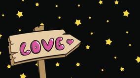Estrellas del amor y del amarillo de la señal de tráfico almacen de metraje de vídeo