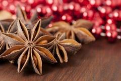 Estrellas del anís en la Navidad Foto de archivo libre de regalías