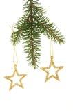 Estrellas del brillo en árbol de navidad Imágenes de archivo libres de regalías