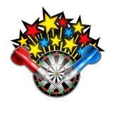 Estrellas del color flaing hacia fuera de diana con los dardos rojos y azules Logotipo del deporte para cualquier juego de los da stock de ilustración