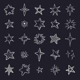 Estrellas del garabato en fondo negro Elementos lindos del espacio del bosquejo de la pluma, sistema geométrico simple Modelo de  stock de ilustración