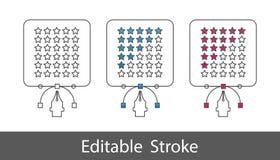 Estrellas del grado de producto - resuma el icono diseñado - movimiento Editable - ejemplo del vector - aislado en el fondo blanc ilustración del vector
