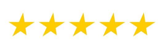 5 estrellas del oro Conjunto de estrellas del vector Fotografía de archivo