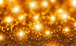 Estrellas del oro de la Navidad foto de archivo