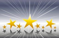 Estrellas del oro en el fondo de plata Imagenes de archivo
