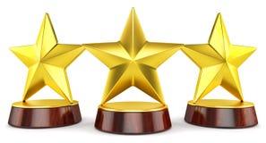Estrellas del oro en un soporte 3d Foto de archivo libre de regalías