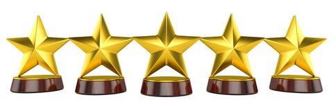 Estrellas del oro en un soporte 3d Fotografía de archivo