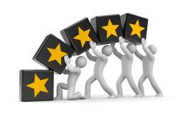 5 estrellas del oro. Metáfora del trabajo en equipo Imagen de archivo libre de regalías