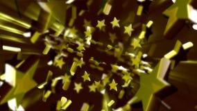 Estrellas del oro que hacen girar alrededor ilustración del vector