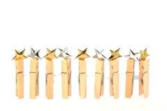 Estrellas del oro y de la plata aisladas Foto de archivo libre de regalías