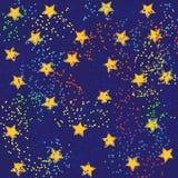 Estrellas del oro y luces brillantes en un fondo negro y azul para Fotografía de archivo