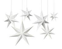 Estrellas del papel de la Navidad blanca Fotos de archivo libres de regalías