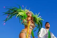 Estrellas del reality show en el Carnaval brasileño Foto de archivo