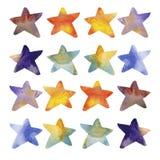 Estrellas del Watercolour Imágenes de archivo libres de regalías
