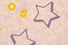 Estrellas en el billete de banco del dólar los E.E.U.U., macro Fotografía de archivo libre de regalías
