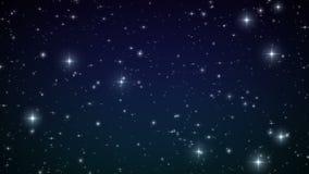Estrellas en el cielo Animación colocada Noche hermosa con las llamaradas del centelleo HD 1080 ilustración del vector