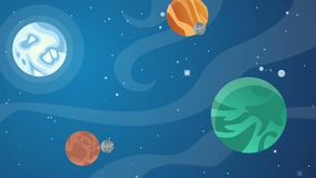Estrellas en espacio con los objetos de la historieta animada stock de ilustración