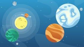 Estrellas en espacio con los objetos de la historieta animada ilustración del vector