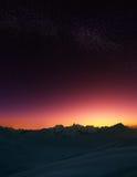 Estrellas en montañas Imágenes de archivo libres de regalías