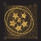 Estrellas en un fondo negro, cartel del Año Nuevo, tarjeta del oro de la corriente stock de ilustración
